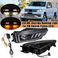 Pair Front Bumper Fog Light Turn Signal Lamp LED DRL Daytime Running Light For VW for Amarok Pickup 2016+ LED Light Tail Lamp