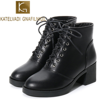 KATELVADI  Fashion Black Boots Women 6CM Heel Autumn Winter Lace-up PU Leather Platform Shoes Woman Party Ankle K-502