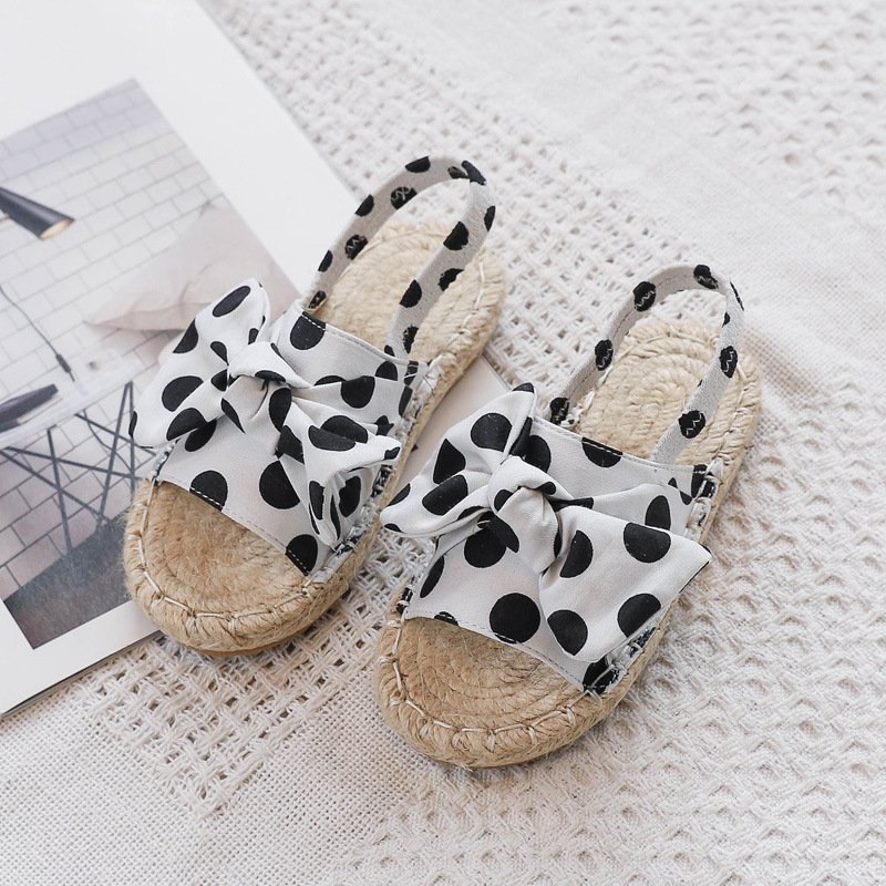 ULKNN 2020 Summer New Style Sweet Ladies' Polka Dot Bow Slipper Pastoral Style Weaving GIRL'S Sandals Princess Shoes