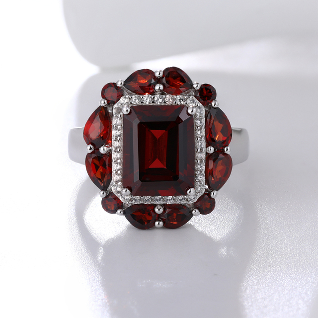 GZ ZONGFA Hot Sale Handmade Wedding Engagement Fine Jewelry Natural Garnet 925 Sterling Silver Ring For Party women 3