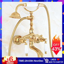 Bathtub Faucet Gold Polished Wall Mounted Clawfoot Tub Faucet Brass Bath Shower Faucet With Hand Spray Shower Head Mixer Taps