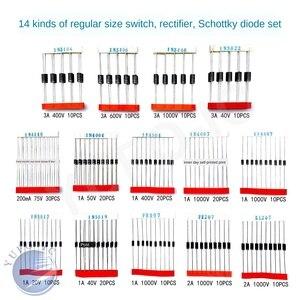 14Values=200pcs diode kit 1N5404 1N5406 1N5408 1N5822 1N4148 1N4001 1N4004 1N4007 1N5817 1N5819 RL207 FR207 FR107 UF4007 Assort