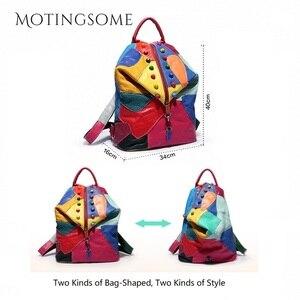 Image 5 - Hakiki deri sırt çantası koyun derisi sırt çantası tasarımcı seyahat renkli Patchwork lüks alışveriş çantası Mochila 2020 kadın çantası trendi