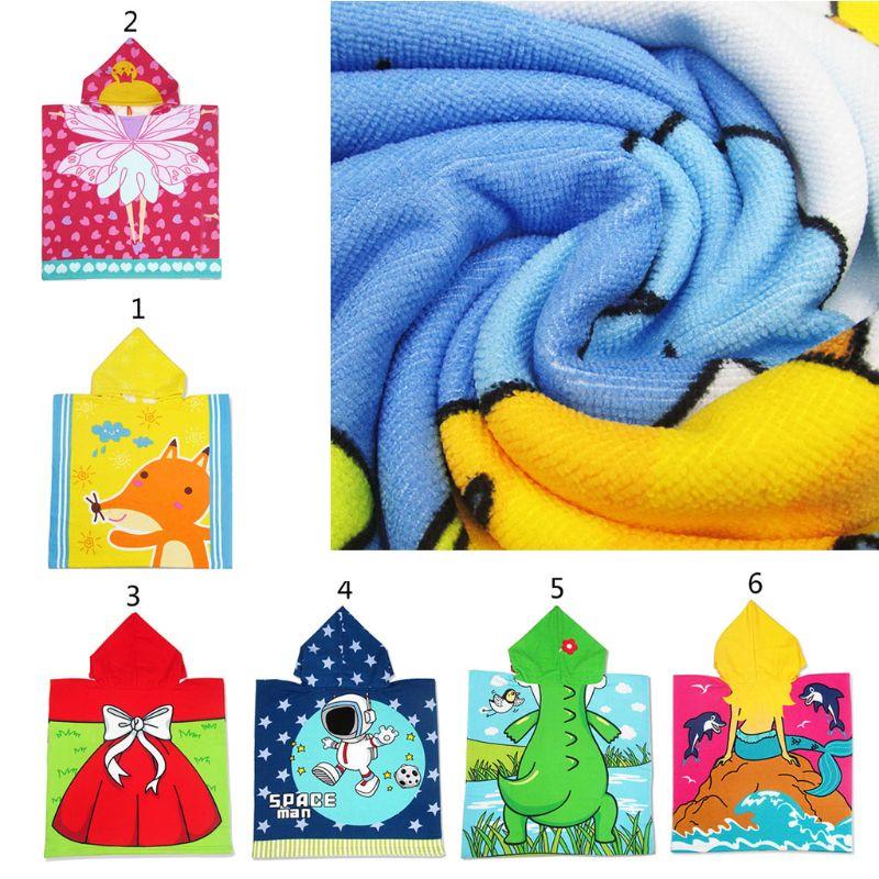Kinder Mit Kapuze Mantel Strand Handtuch Mikrofaser Junge Mädchen Kinder Schwimmen Bad Handtuch