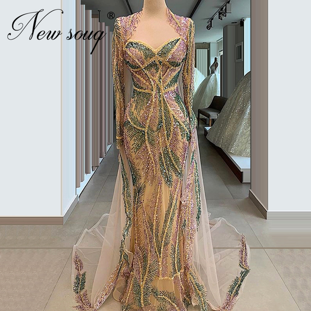 New Arrival Multi Color Beading Evening Dresses Robe De Soiree Longue Custom Sequins See Through Party Gown Kaftans Middle East