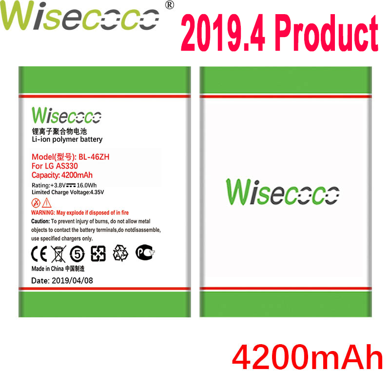 Wisecoco 4200mAh Bateria Para LG AS330 BL-46ZH K332 K350N K371 K373 K7 K8 K8V K89 LS675 LS675 M1 M1V MS330 US375 X210 Telefone
