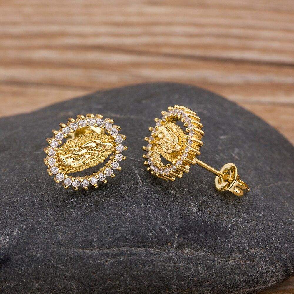 New Trendy Buddha Gold Stud Earrings Copper CZ Zircon Tiny Elegant Eternity Earrings Jewelry For Women Jewelry