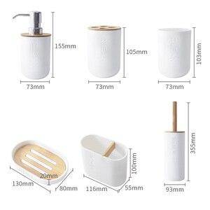 Image 5 - 6 Bằng Tre Phòng Tắm Bộ Bàn Chải Vệ Sinh Giá Treo Bàn Chải Đánh Răng Ly Xà Bông Xả Dưỡng Hộp Đựng Phụ Kiện Phòng Tắm
