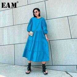 Женское длинное платье EAM, синее плиссированное платье большого размера с рукавами-фонариками и круглым вырезом, весна-лето 2020 1U201