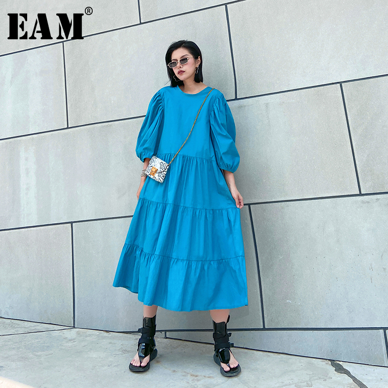 [EAM] Women Blue Pleated Split Big Size Long Dress New Round Neck Puff  Sleeve Loose Fit Fashion Tide Spring Summer 2020 1U201
