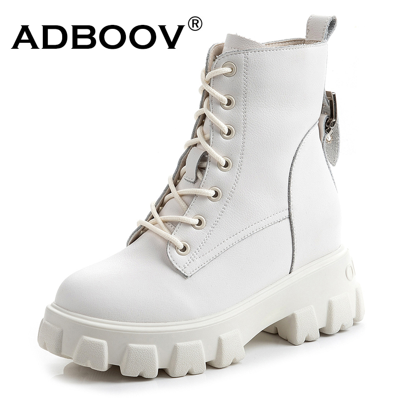 DBOOV New Genuine Leather Platfrom Ankle Boots Women Side Zip Winter Martens Boots White Black