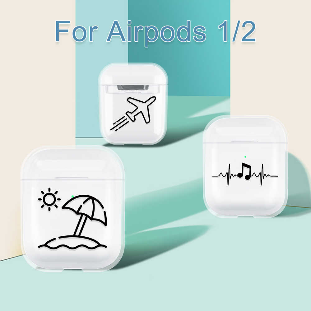 Earphone Case For Apple Airpods 2 1 Pattern Protective Transparent Earphone Cover For Airpods 1 2 PC Earphone Protector Coque