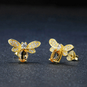 Image 4 - 925 sterling silver earring for women Natural Ametrine stone  jewelry 18K gold plated gemstone stud ear Fashion small bee lover