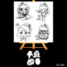 AZSG Merry Christmas Cute Animals Cuting Dies Clear Stamps For DIY Scrapbooking/Album Decorative Silicone Stamp Crafts