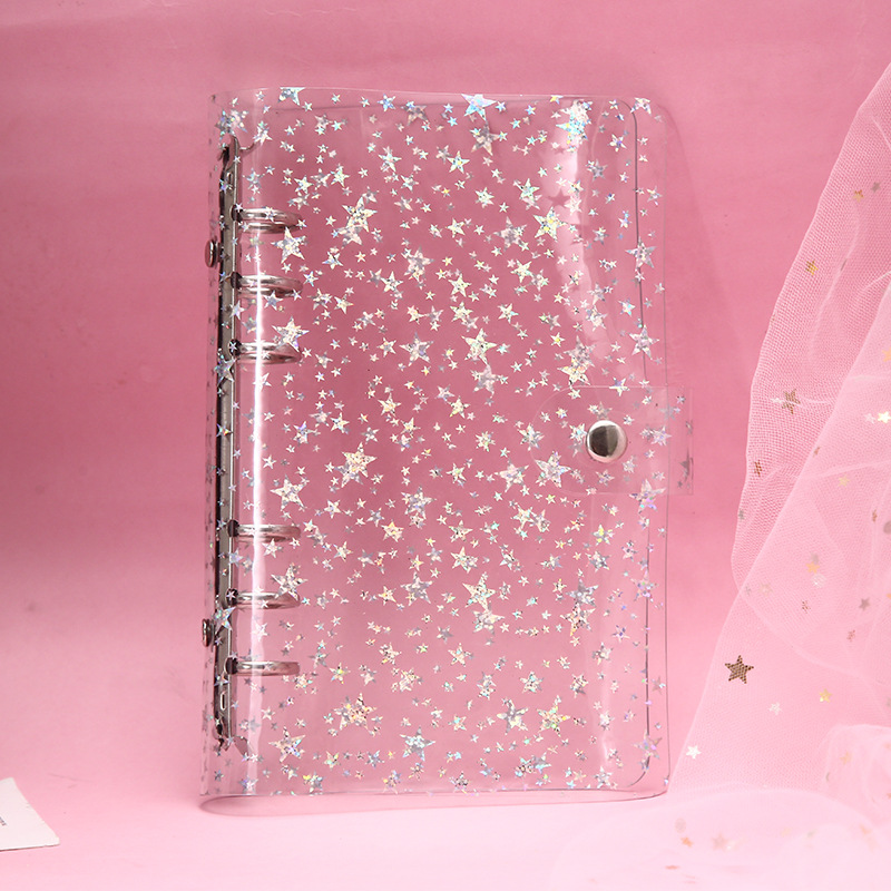 6-hole PVC Transparent Note Girl Heart Account Book Set Custom Notebook Student Book Book Shell Loose-leaf Hand Account Cover