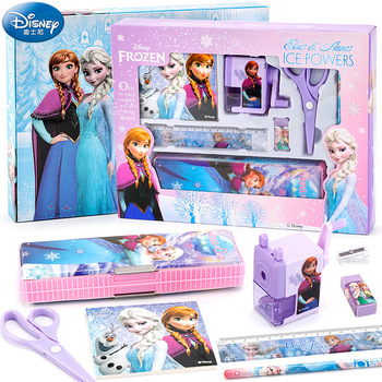 Disney Frozen Stationery Set Elementary School Pencil Case Maker Pen Children's Birthday Gift School Supplies Gift Box