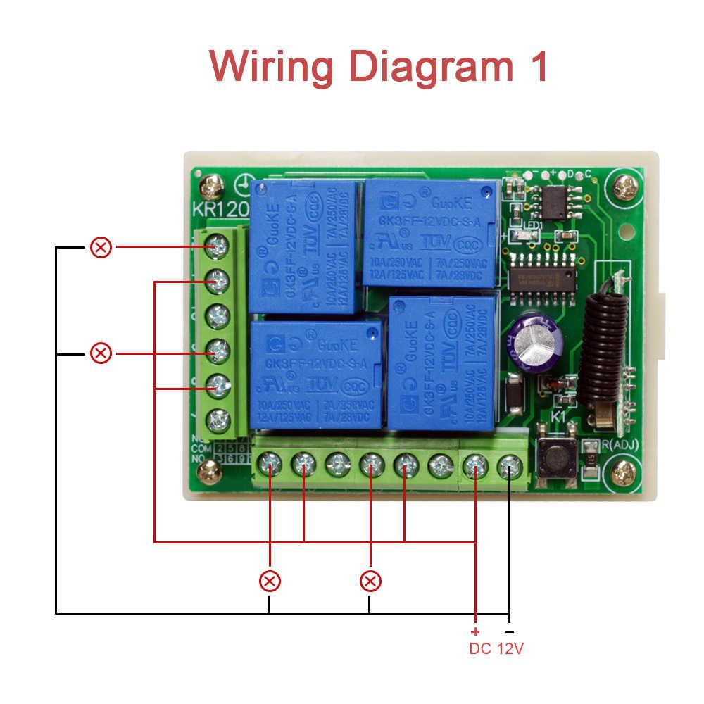 Rubrum 433 MHz ไร้สาย DC 12V 4 Ch RF รีโมทคอนโทรลสวิตช์ตัวรับโมดูล 433 MHz เครื่องส่งสัญญาณรหัสการเรียนรู้สวิทช์