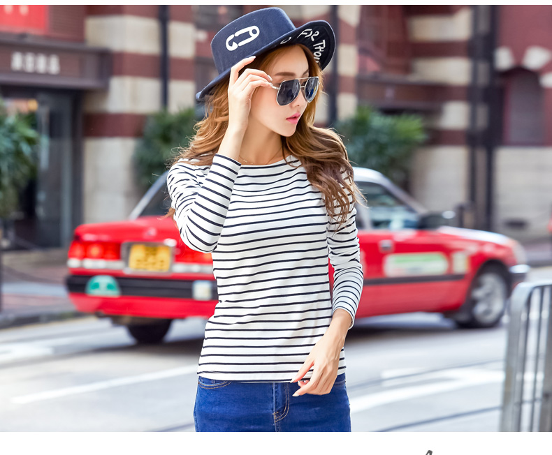 H53ead9712c984aa1a02d4b5ee8bf39f7N - Soperwillton Cotton T-shirt Women New Autumn Long Sleeve O-Neck Striped Female T-Shirt White Casual Basic Classic Tops #620