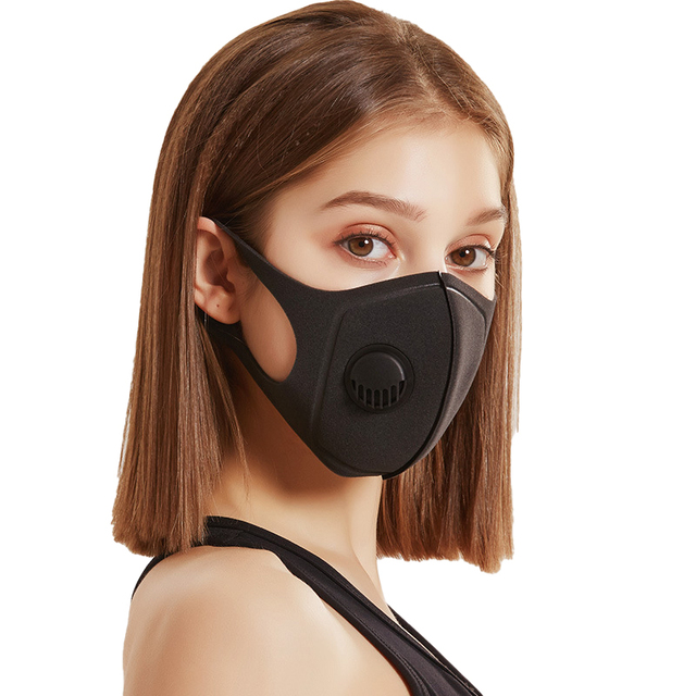 2pcs Face Protective Mask Kpop Cotton Black Valve Mask Mouth Face Masks Anti PM2.5 Dust Maske Washable Reusable 1