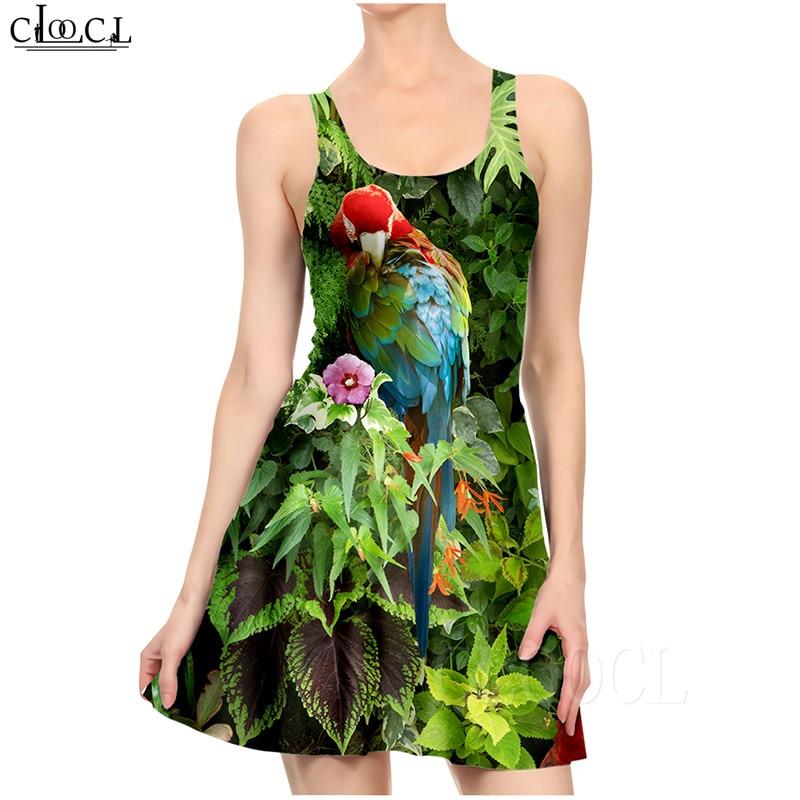Ladies Dress Fashion Elegant Parrot Printed Colorful Dresses Sexy Women's Girls Short Slim Dress Beach Summer vestidos de verano (1)