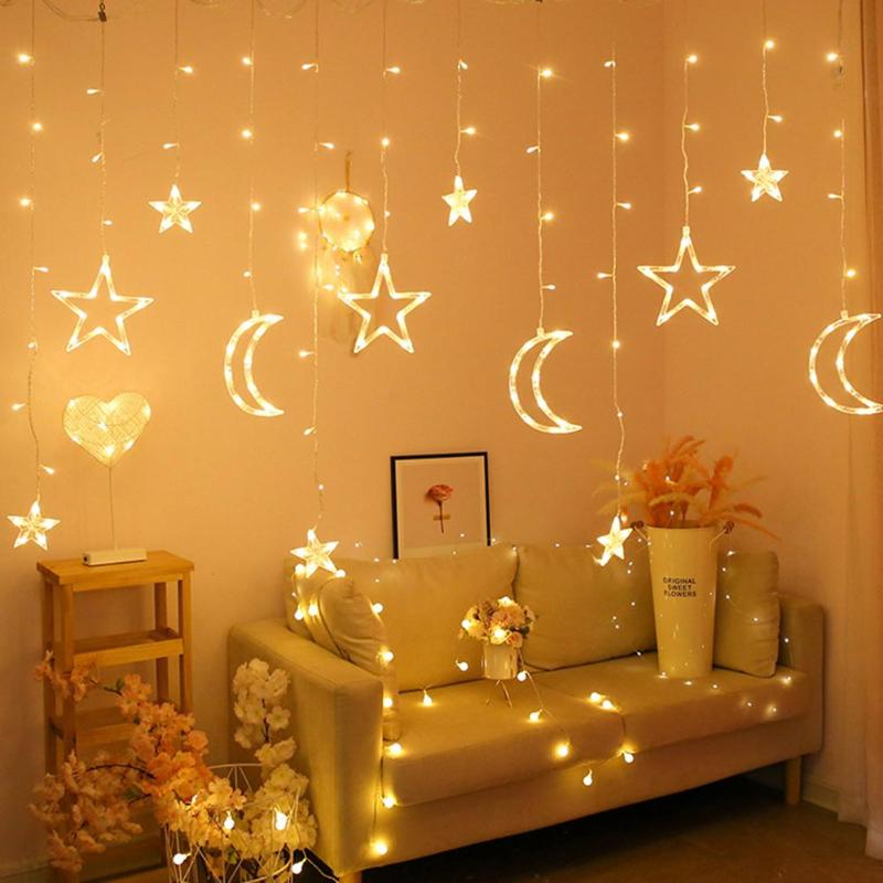 Moon Star Heart Curtain Lights Fairy String Light Garland String Fairy Lamp For Party Wedding Valentine's Day Party Supplies
