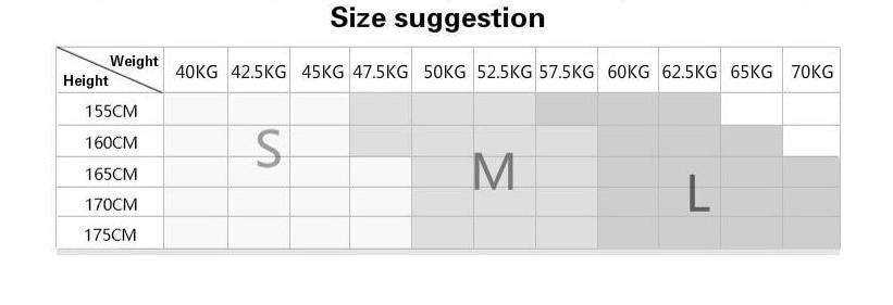 S M L 尺码建议表