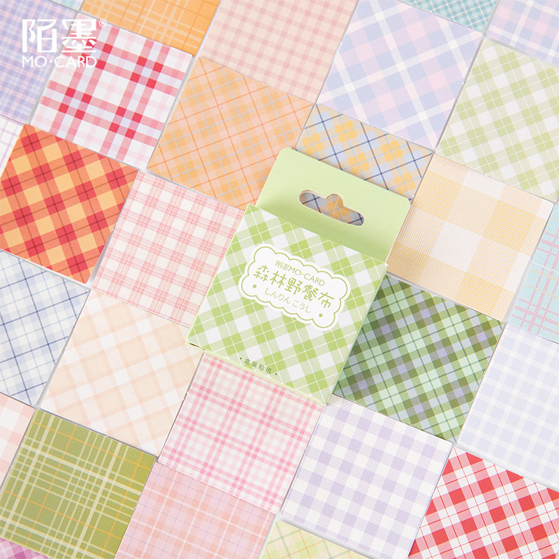 Forest picnic cloth Paper Small Diary Mini Japanese Cute grid box Stickers set Scrapbooking Cute Fla