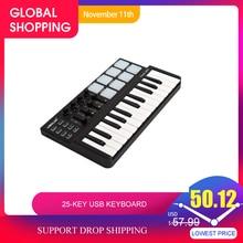 Wereldje Panda Mini Draagbare Mini 25 Key Usb Toetsenbord En Drum Pad Midi Controller Professionele Muziekinstrumenten