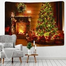 Noel goblen noel ağacı ve şömine sıcak aile duvar asılı zemin ev odası dekorasyon hediye