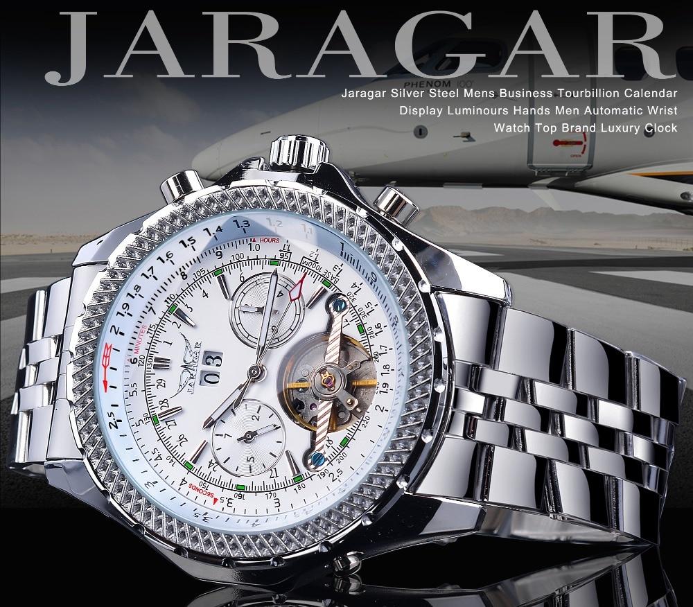 Jaragar Летающая серия турбийон дизайн автоматические часы белый
