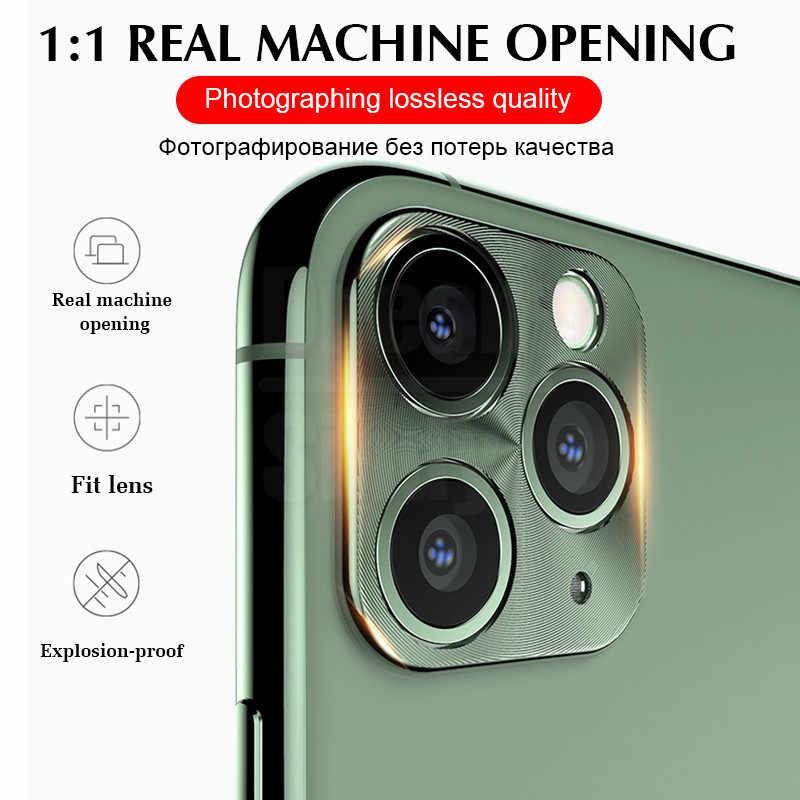 Tam koruyucu kapak kamera iphone için kılıf 11 Pro X XR XS Max 8 7 6s artı kaplama lüks Metal kasa lens koruyucu Film cam