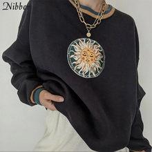 Nibber Casual College Stil Pullover Für Frauen Chic Grafik Oansatz Nette Streetwear Weibliche Einfache Grund Frühling Herbst Clother 2021