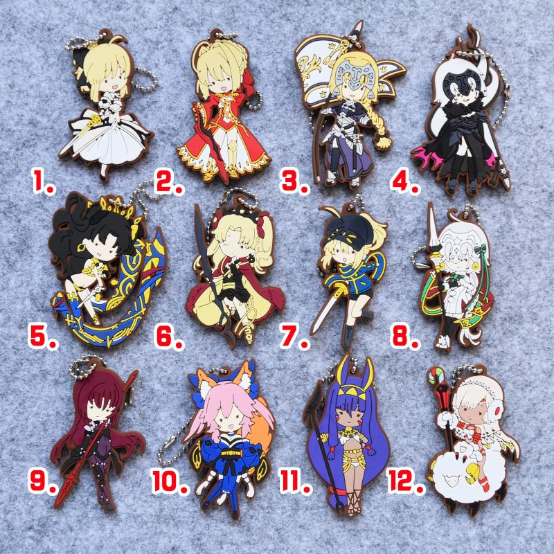 Fate Extella Grand Order FGO Keychain Anime Rubber Strap Bag Charm Hobby Stock