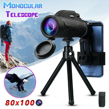 High Definition Monocular Telescope Professional Binoculars 80x100 Magnification Portable Monocular With Tripod Phone Holder
