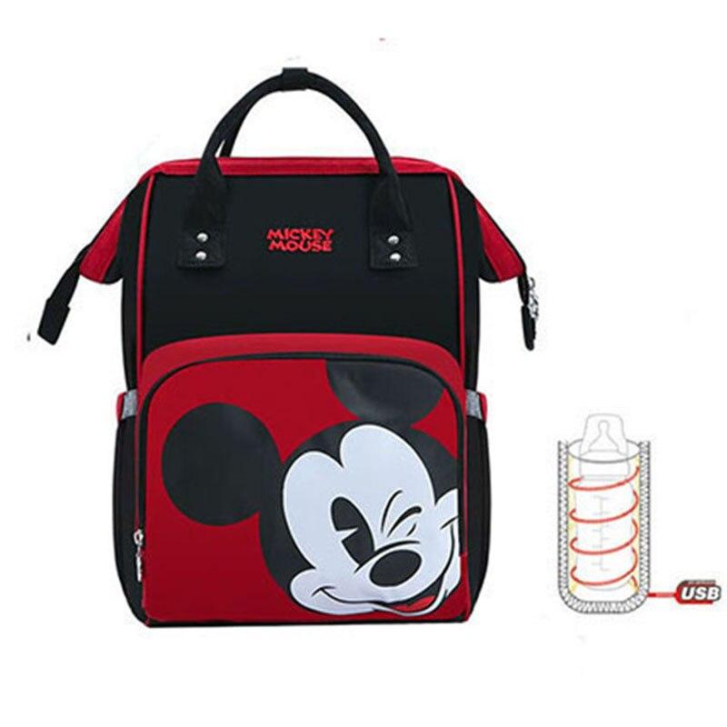 Disney Mickey Baby Diaper Bag USB Backpack Maternity Baby Multifunctional Bags Large Capacity Baby Stroller Bag Holder Nappy Bag