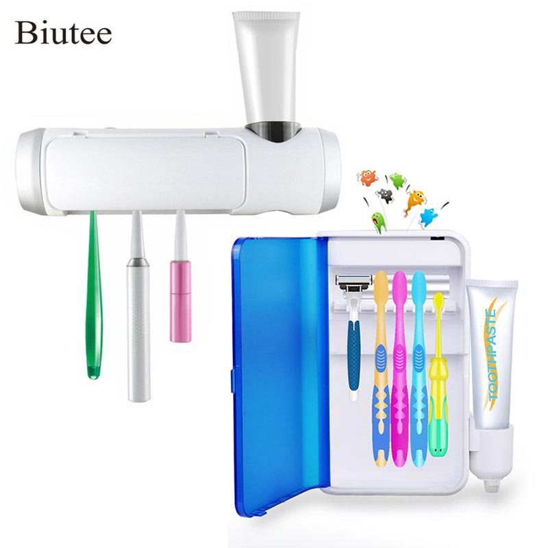 Toothbrush Sterilizers UV Sanitizer Wall Mounted Toothbrush Holder with UV Light Toothbrush Cleaner Container With Adapter image