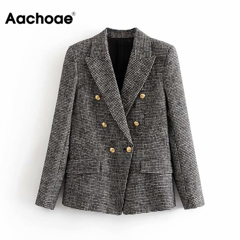 Elegant Women Tweed Plaid Blazers Suits Notched Neck Houndstooth Jacket Double Breasted Pockets Fashion Coat Female Chaquetas