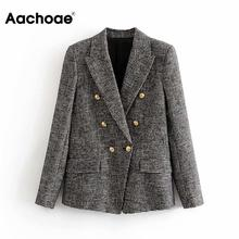 Elegant Women Tweed Plaid Blazers Suits Notched Neck Houndstooth Jacket Double B