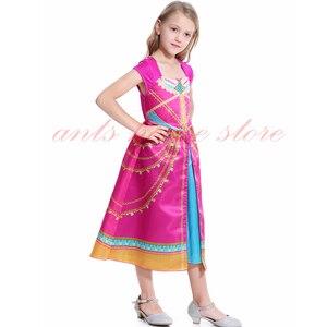 Image 4 - Aladdin Costume Jasmine Dress Pink Fuchsia Outfit For Kids