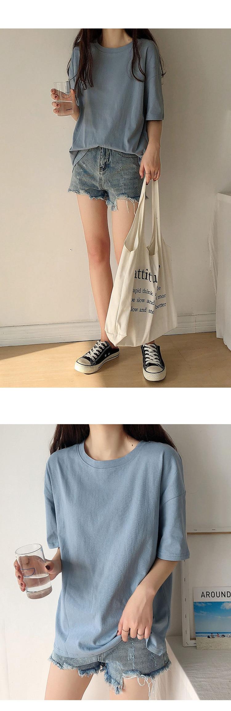 H53ebe4c0f64e4c369a2cb3a625a684a1N - Summer O-Neck Short Sleeves Minimalist Loose Basic T-Shirt