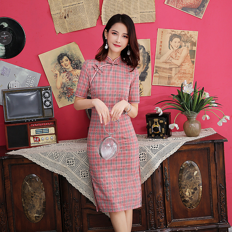 Sheng Coco Pink Lattice Chinese Dress Summer Cotton Short Sleeve Cheongsam Casual Clothing China Wind Pink Vintage Qipao Women