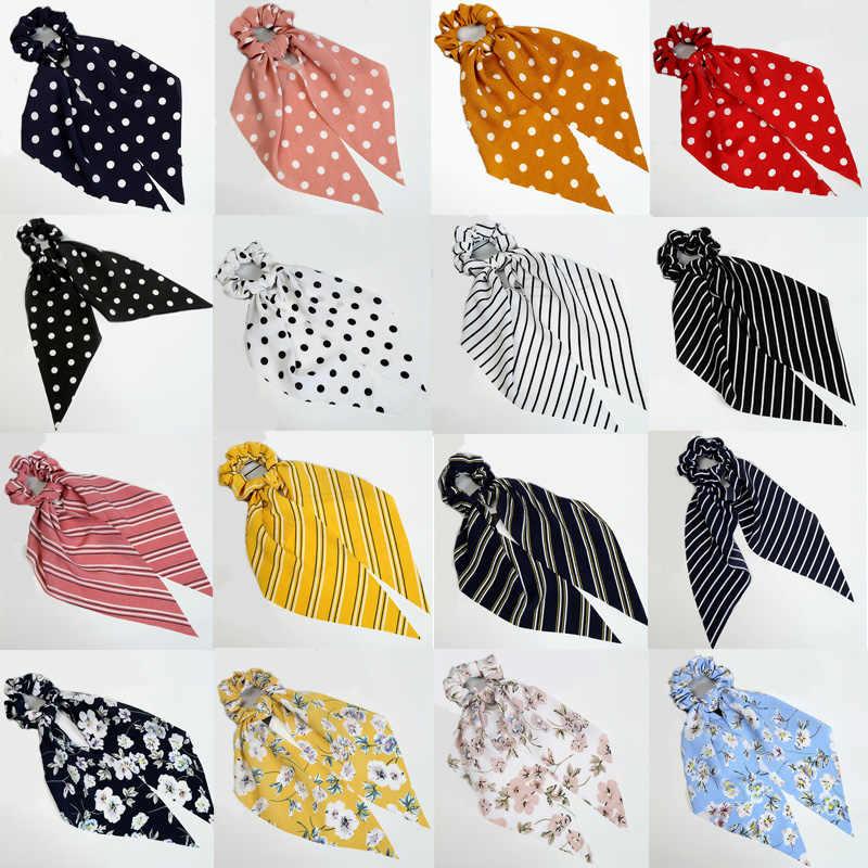 Nowe w kwiatki drukuj kobiety chusta na głowę elastyczne gumki do włosów czeski Hairband Bow gumki do włosów Scrunchie Girls gumki do włosów