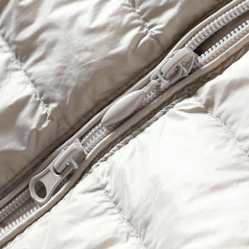 女性のベストダックダウンジャケットの女性フード付き春秋超軽量ノースリーブコートプラスサイズ Chalecos パラ Mujer J3831