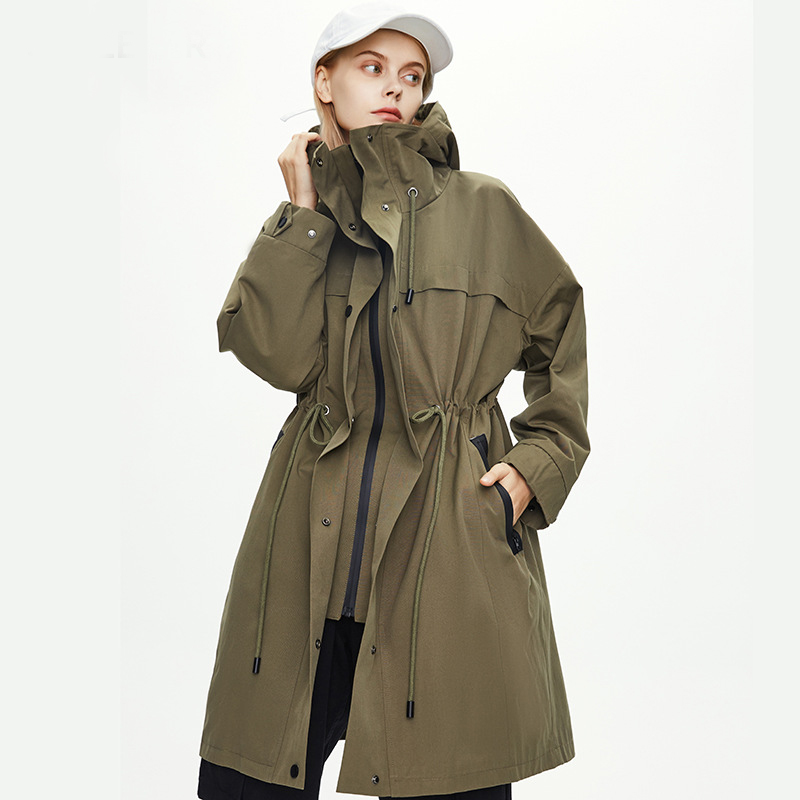 2020 Autumn Women Trench Coat Lace-Up Belt Waist Design Women Hooded Long Coat Casaco Feminino Abrigo Mujer Cotton Trench Femme image