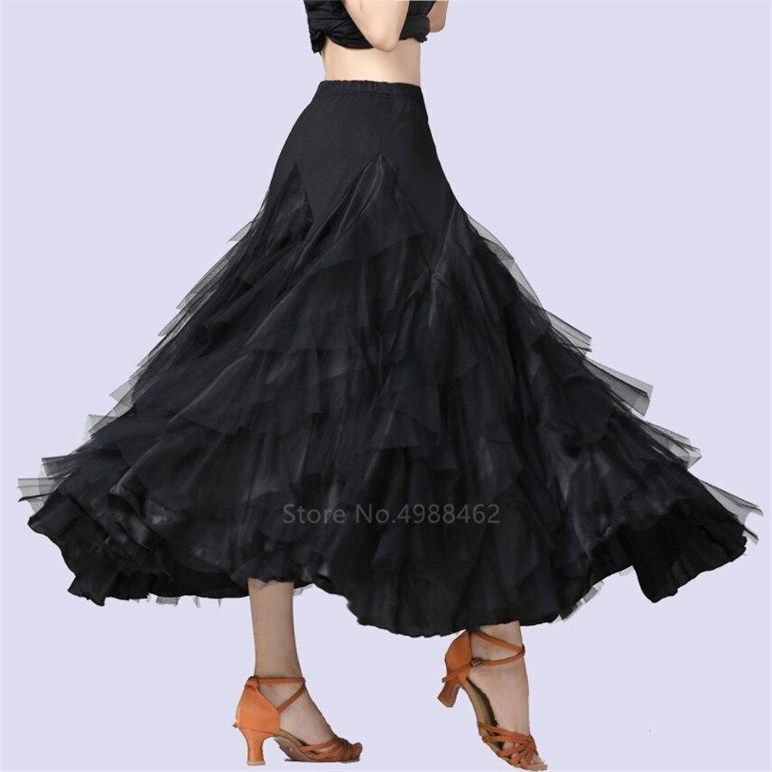 2021 Women Dancing Costume Flamenco Waltz Ballroom Dance Skirt Classical Competition Practice Layered Big Swing Spanish Skirts
