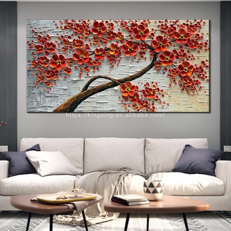 Купить ручная роспись ножом красное дерево масляная живопись на холсте