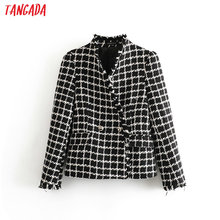 Tangada women retro plaid tweed blazers V neck pockets buttons tassels long slee