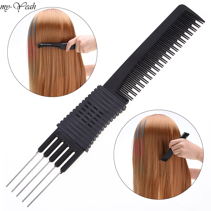 Double-Sided Plastic Metal Hair Brushes Comb Insert Barber Haircutting Dyeing Pro Salon Hairdressing Styling Tools