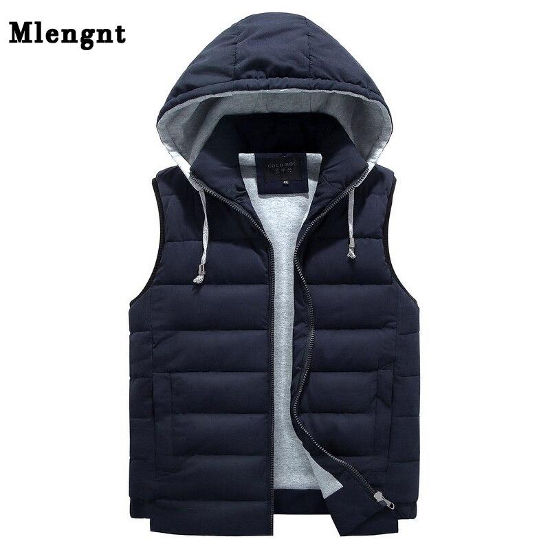 Men 4XL-8XL Parka Hooded Vest Winter Autumn New Thick Warm Casual Windbreaker Baggy Padded Outerwear Waistcoat Sleeveless Jacket