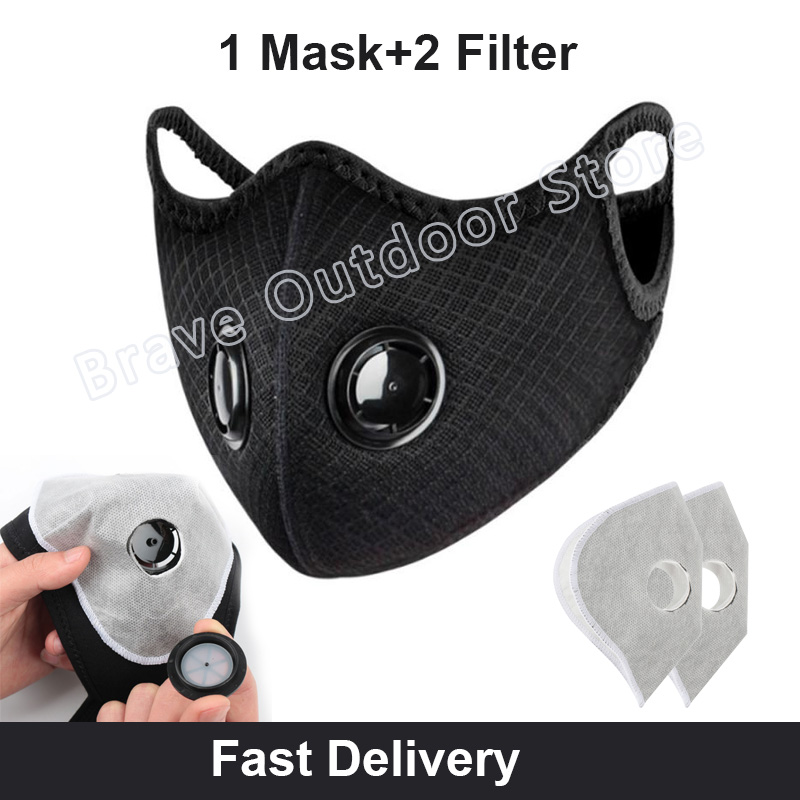 Cycling Face Mask Filter High Efficiency Anit-fog Anit-pollution Breathable Activ Carbon Respirator Sports Bike Dust Mask